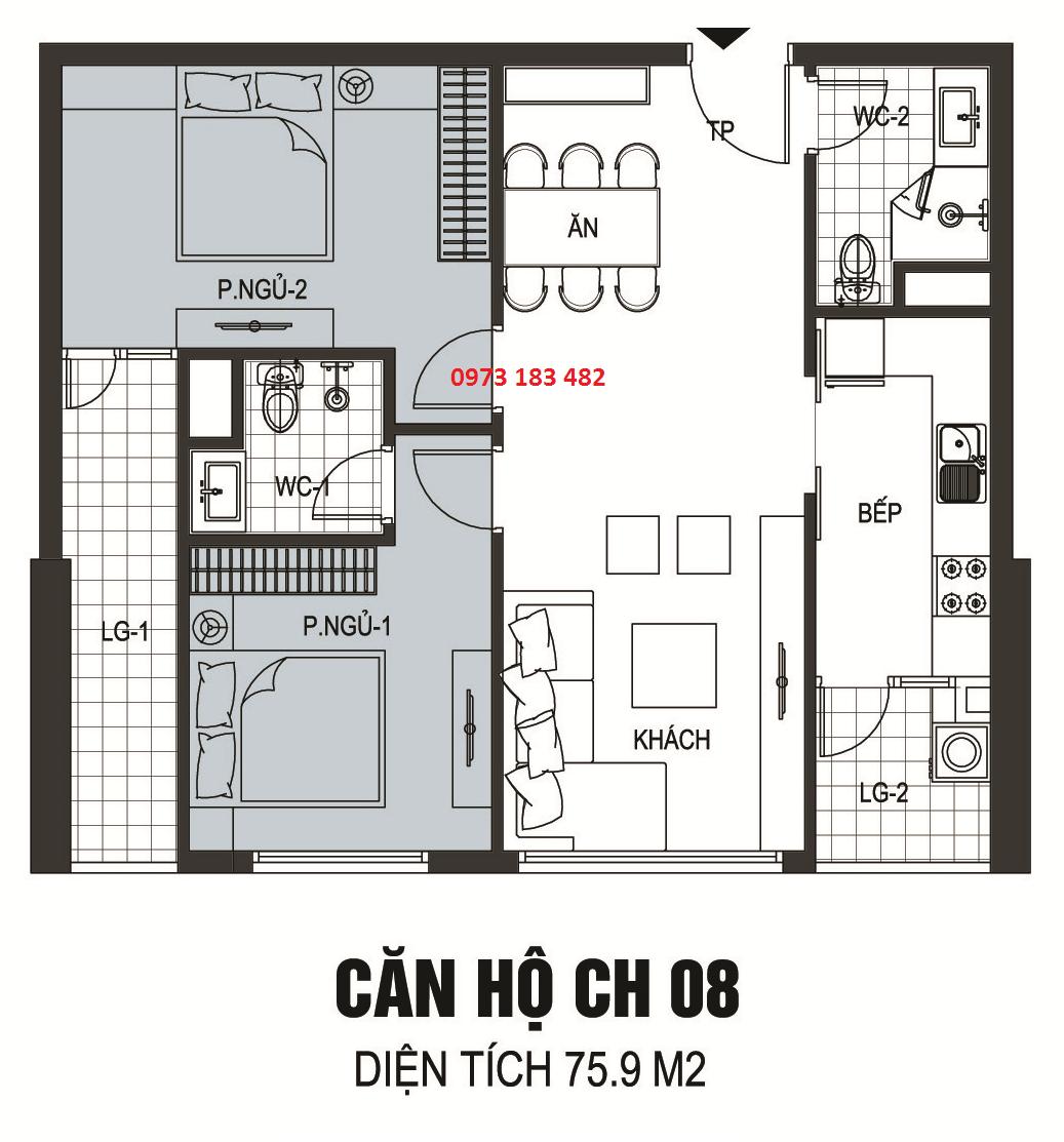 Thiết kế căn hộ A08 chung cư B6 Giảng Võ