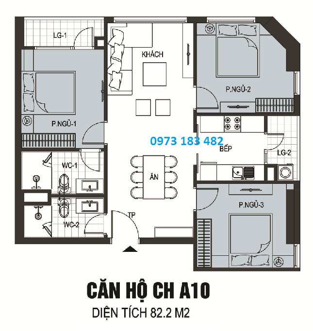 Thiết kế căn hộ A10 chung cư The Golden Armor