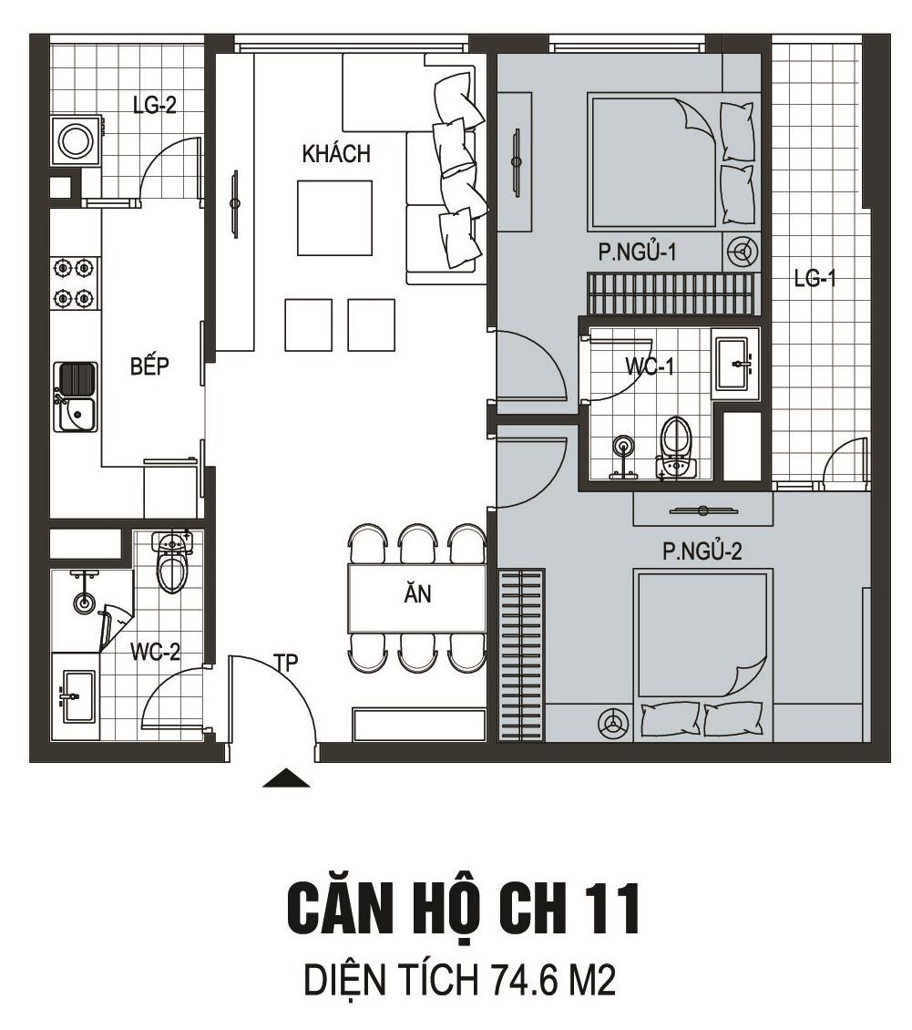 Thiết kế căn hộ A11 chung cư B6 Giảng Võ