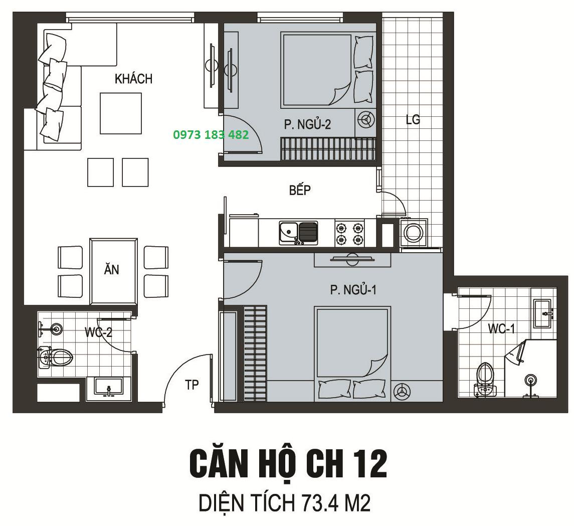 Thiết kế căn hộ A12 chung cư B6 Giảng Võ
