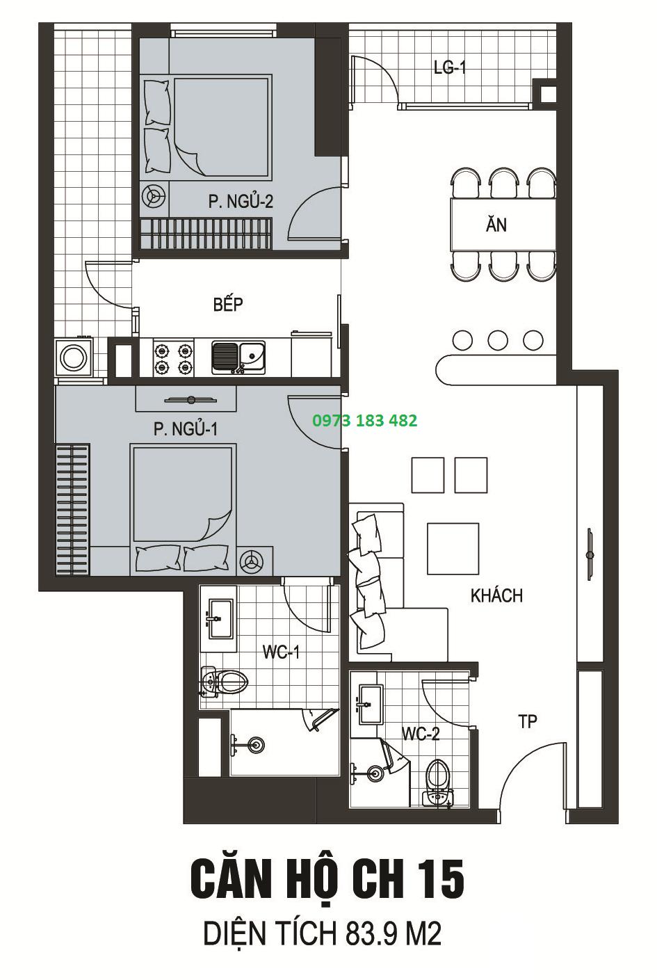 Thiết kế căn hộ A13 chung cư B6 Giảng Võ