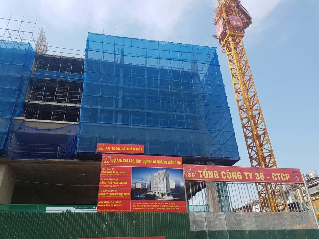Tiến độ xây dựng chung cư B6 Giảng Võ