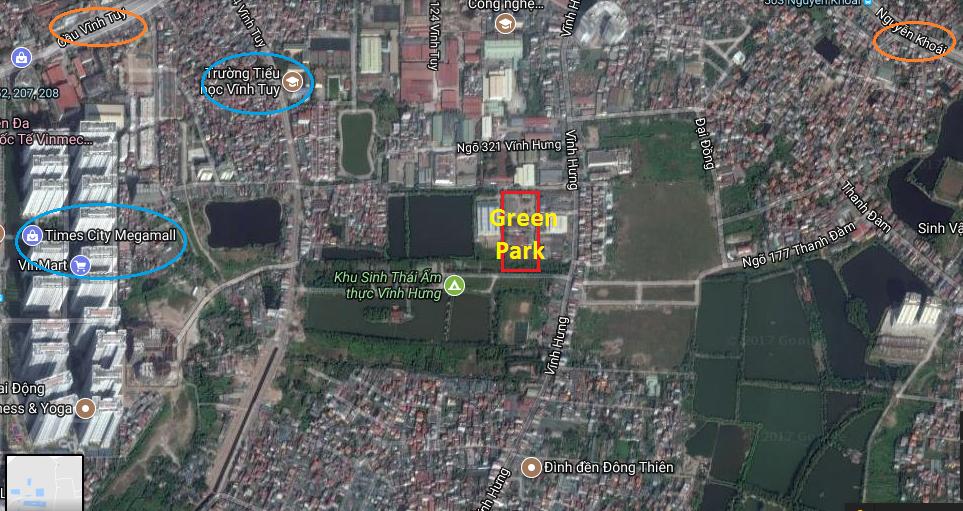 Vị trí dự án liền kề Green Park Vĩnh Hưng