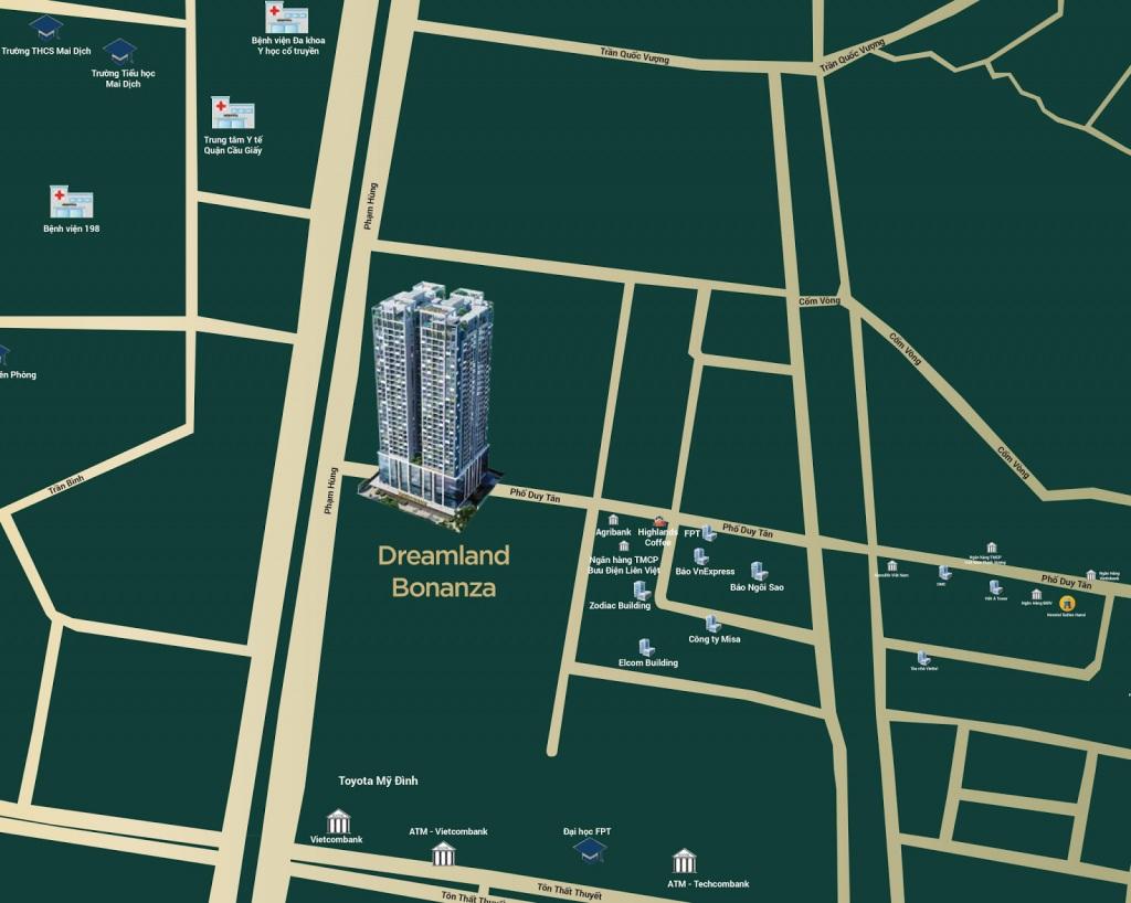Vị trí chung cư Dreamland Duy Tân