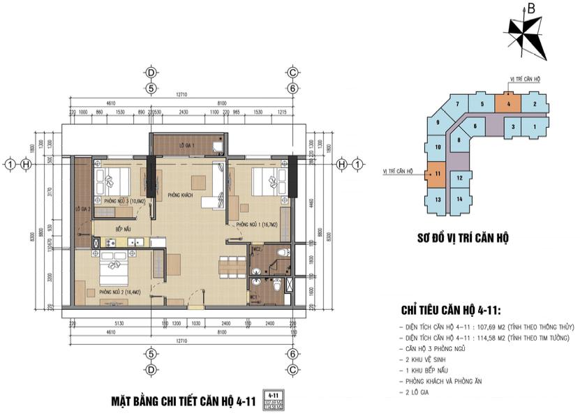 Thiết kế căn hộ b32 đại mỗ 108m2