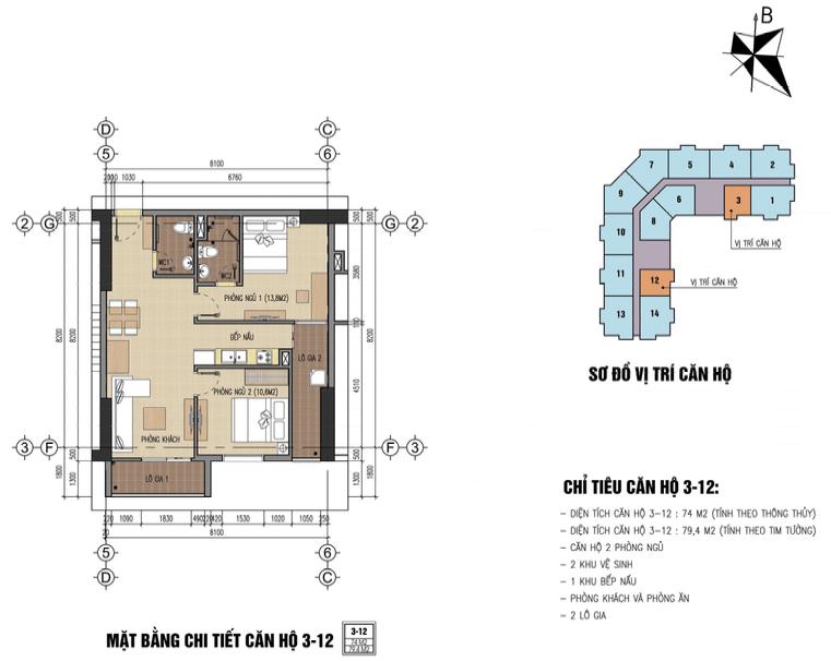 Thiết kế căn hộ CH3 74m2 B32 Đại Mỗ