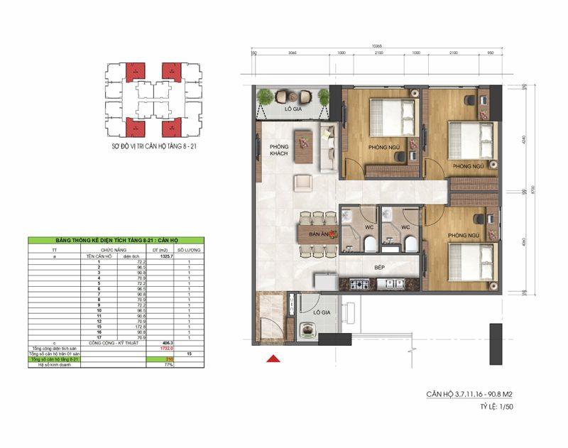 Thiết kế căn hộ 3 phòng ngủ 90m2 Dreamland Duy Tân