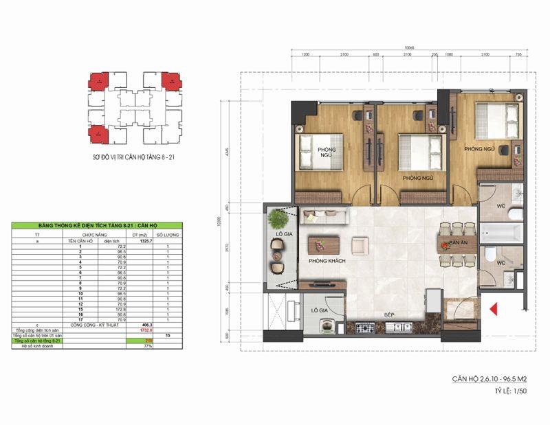 Thiết kế căn hộ 3 phòng ngủ 96.5m2 Dreamland Duy Tân