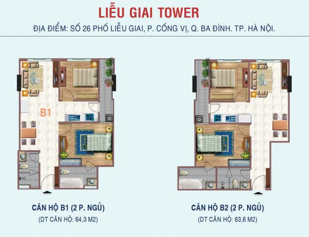 Thiết kế căn hộ 2 phòng ngủ Liễu Giai Tower