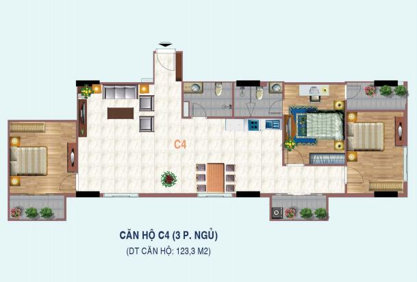 Thiết kế căn hộ 3 phòng ngủ C4 Liễu Giai Tower