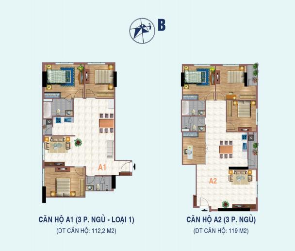 Thiết kế căn hộ 3 phòng ngủ chưng cư 26 Liễu Giai