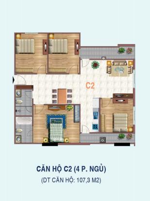 Thiết kế căn hộ 4 phòng ngủ C2 Liễu Giai Tower