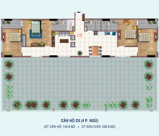 Thiết kế căn hộ 4 phòng ngủ C6 Liễu Giai Tower