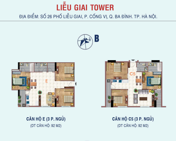 Thiết kế căn hộ 3 phòng ngủ chung cư 26 Liễu Giai