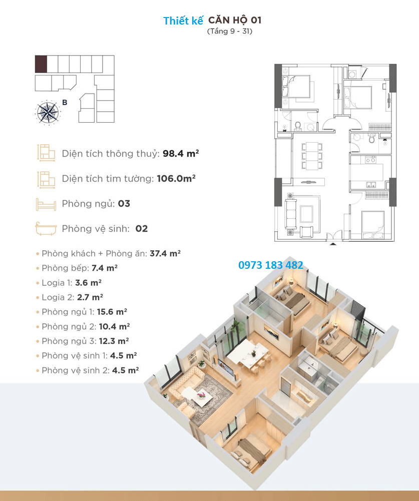 Dự án Golden Park Tower - Thiết kế căn hộ 01