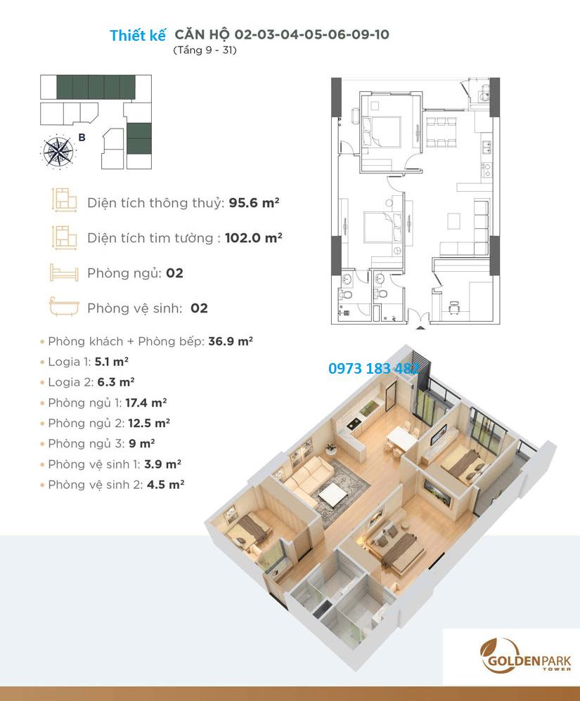 Chung cư golen Park - Thiết kế căn hộ 2 phòng ngủ