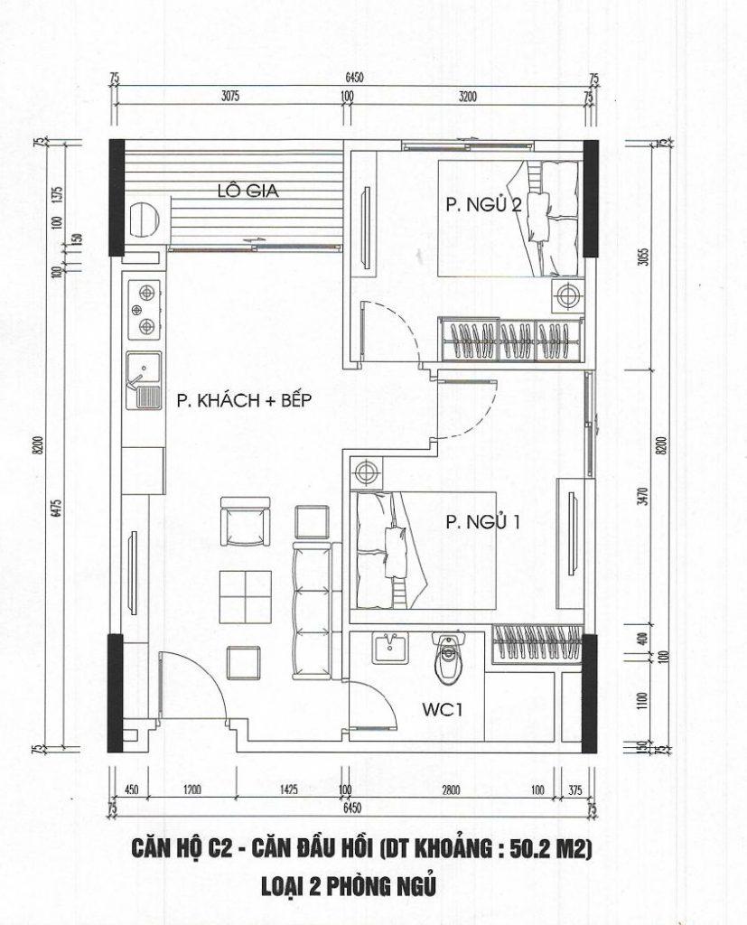 Căn hộ 2 phòng ngủ 50m2 tòa CT3 - Ct4 kim chung
