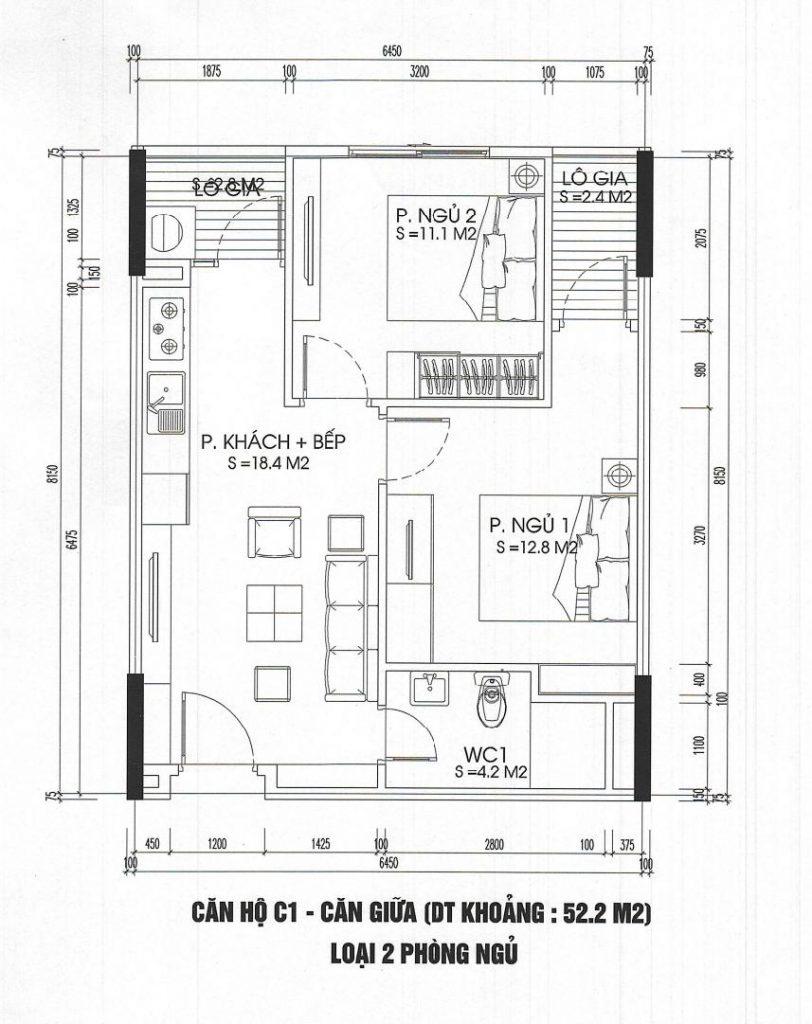 thiết kế căn hộ 2 phòng ngủ 52m2 ct3 - ct4 kim chung