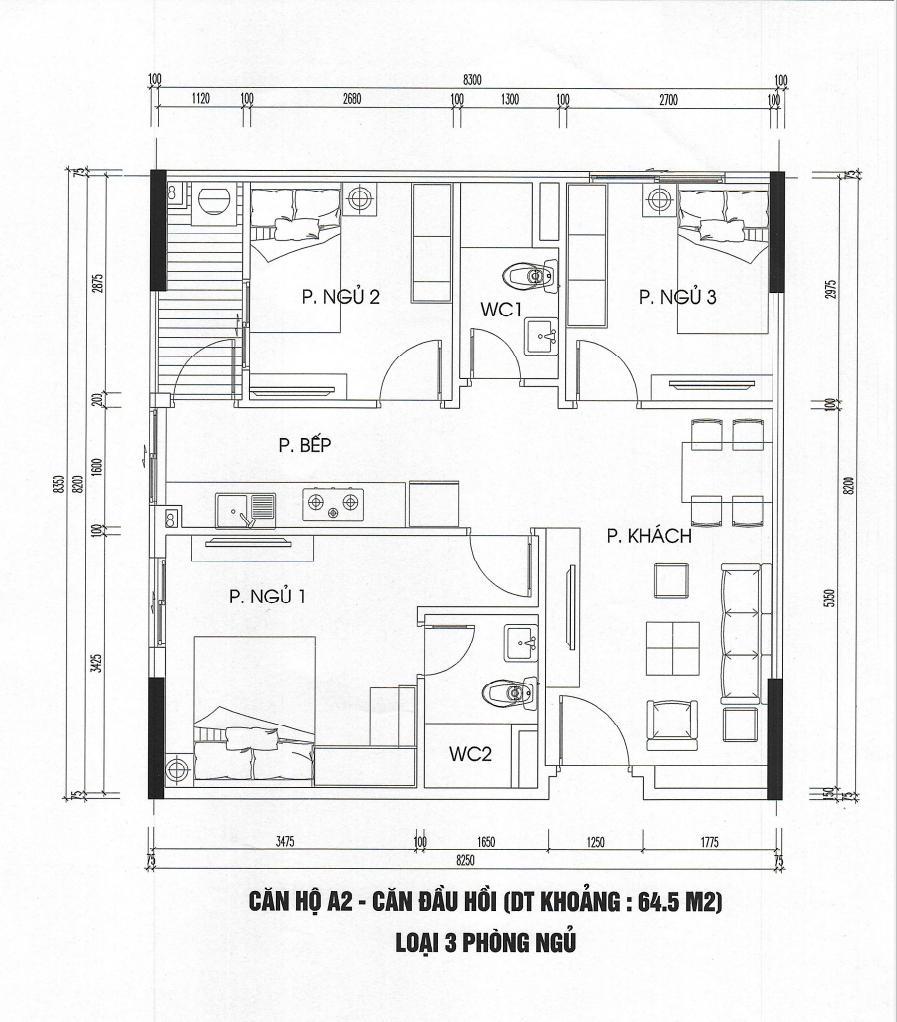 thiết kế căn hộ 64m2 tòa ct3 - ct4 kim chung