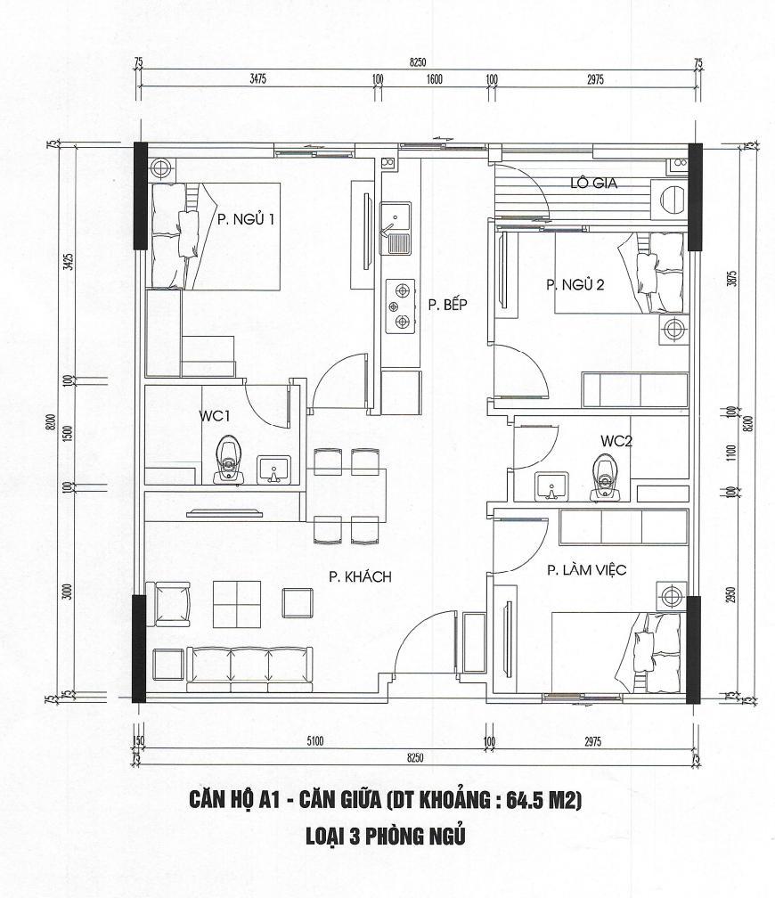 căn hộ 65m2 nhà ở xã hội kim chung