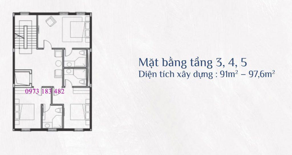 Thiết kế tầng 3,4,5 shophouse Sun Premier Village Primavera