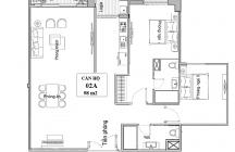 Thiết ké căn hộ 2 phòng ngủ 98m2 E2 Yên Hòa