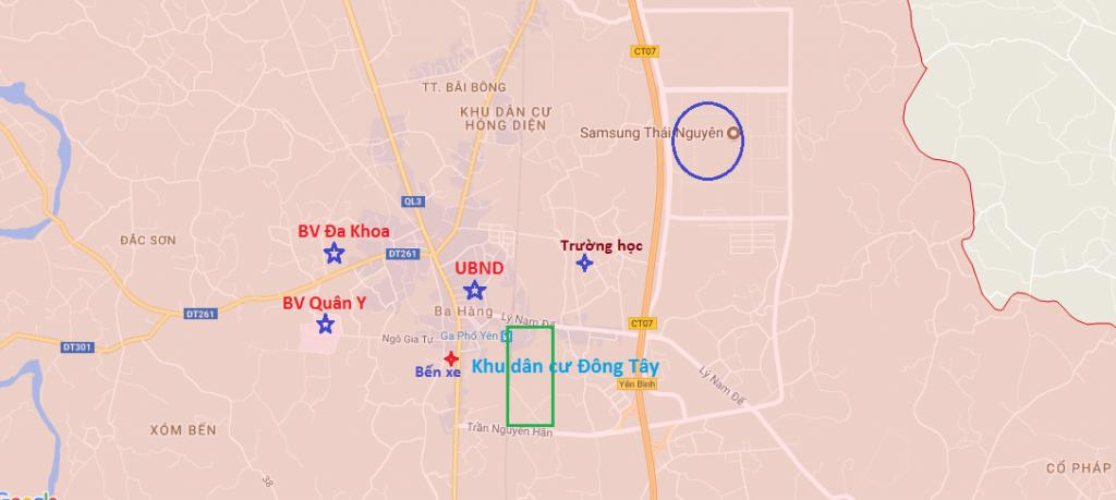 Vị trí khu dân cư Đông Tây thái Nguyên