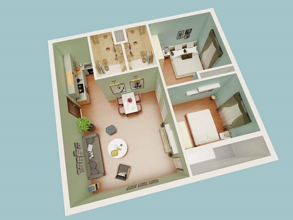 Phối cảnh 3D căn hộ nhà ở xã hội kim chung đông anh