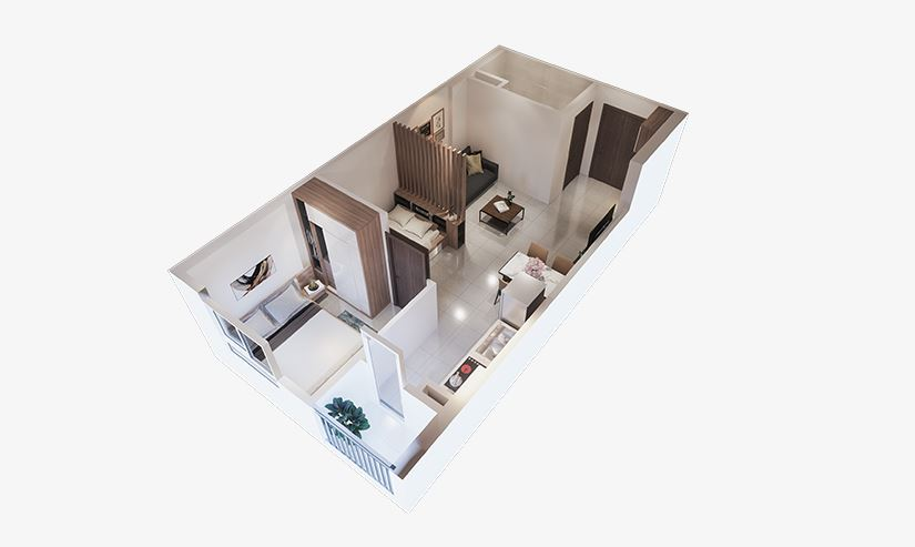 Thiết kế căn hộ 1 phòng ngủ ecohome 3