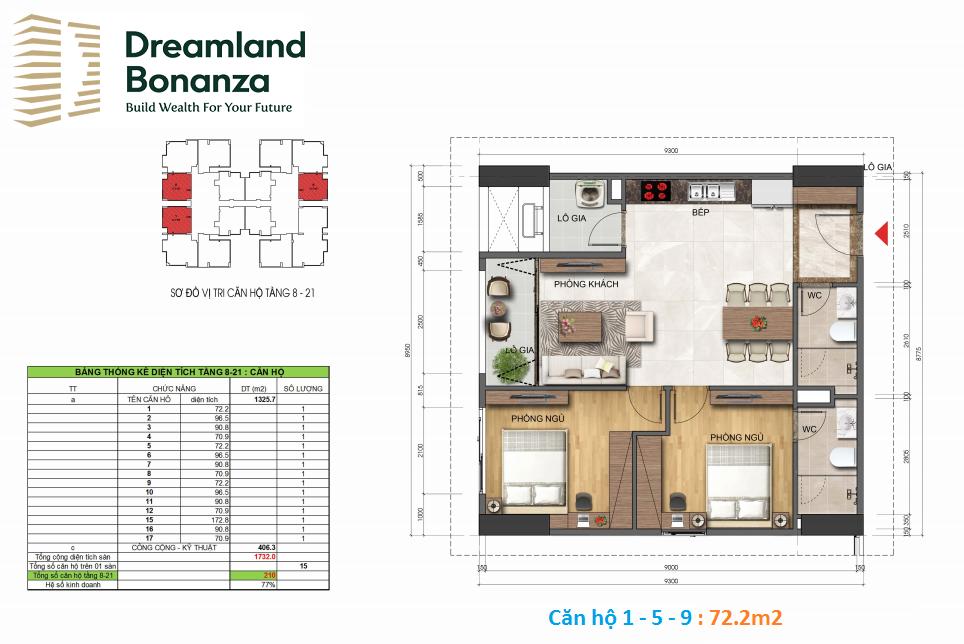 Căn hộ 2 phòng ngủ Dreamland Duy Tân