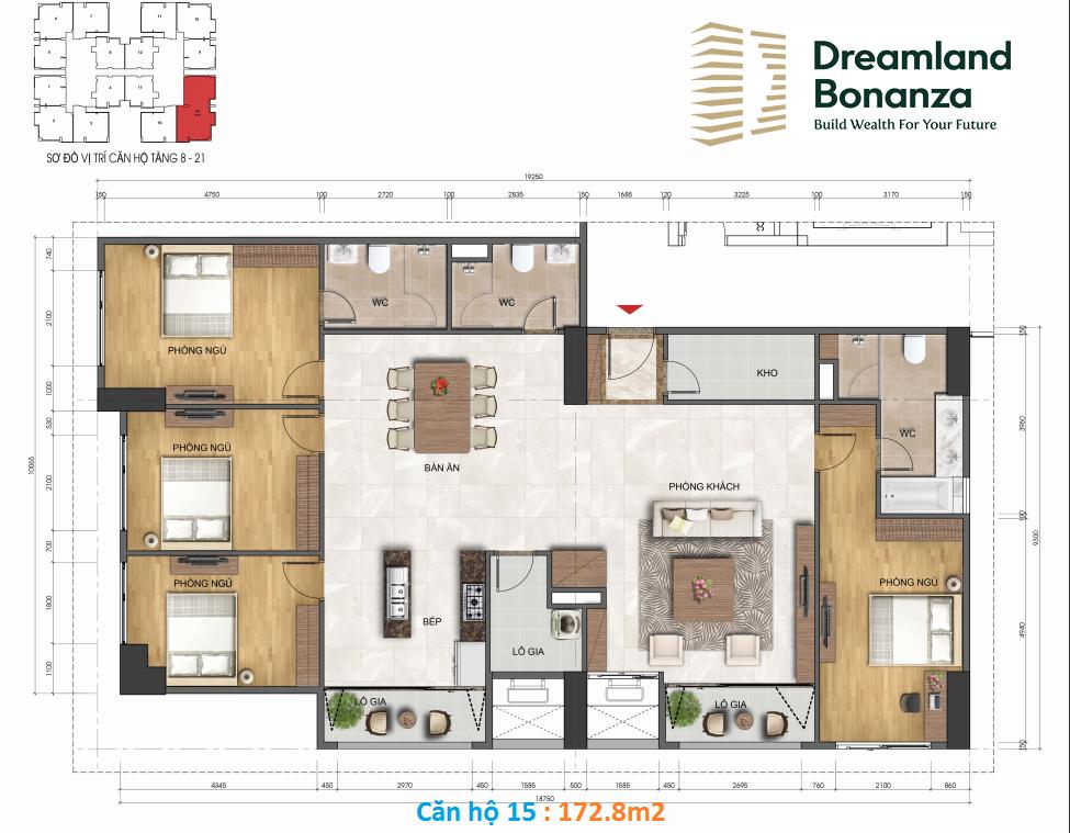 Thiết kế căn hộ 172.8m2 chung cư 23 Duy Tân