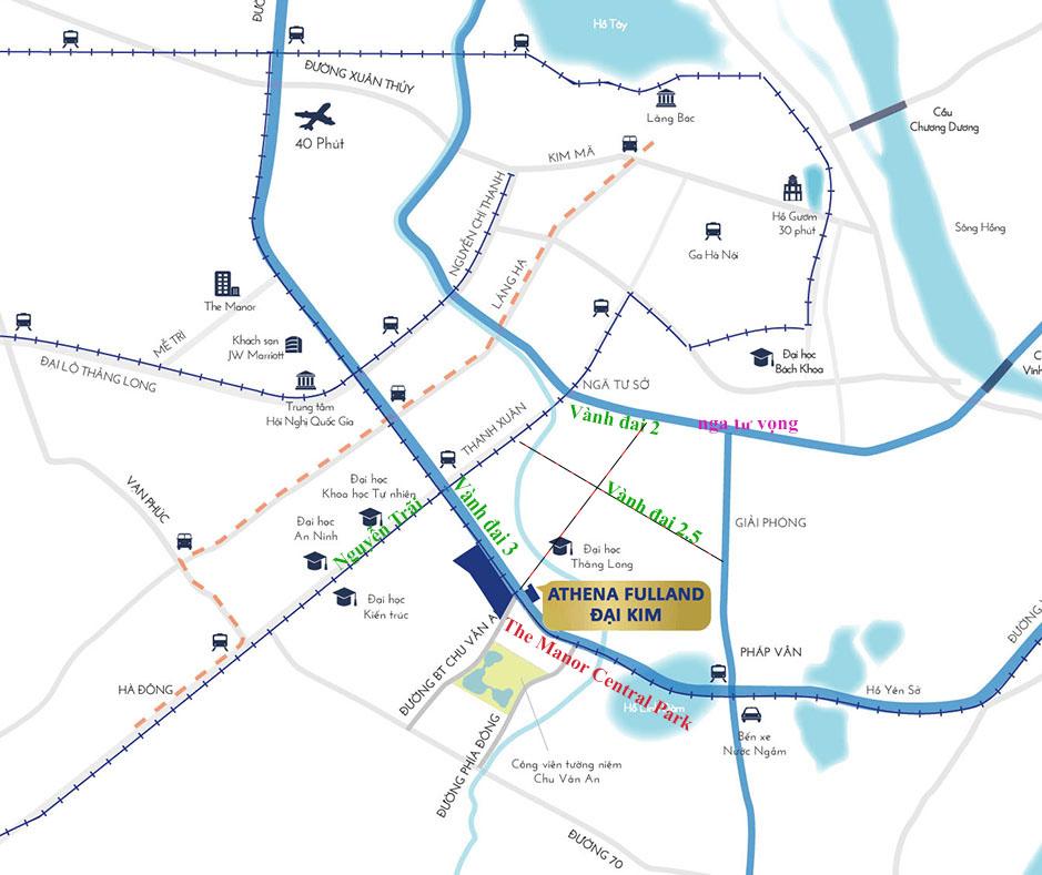 Vị trí dự án Athena Fulland Nguyễn Xiển