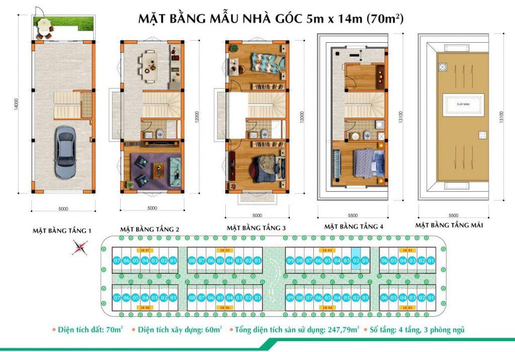 mặt bằng thiết kế căn góc nhà Long việt Quang Minh