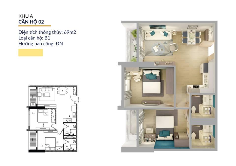 Thiết kế căn hộ 69m2 athena pháp vân