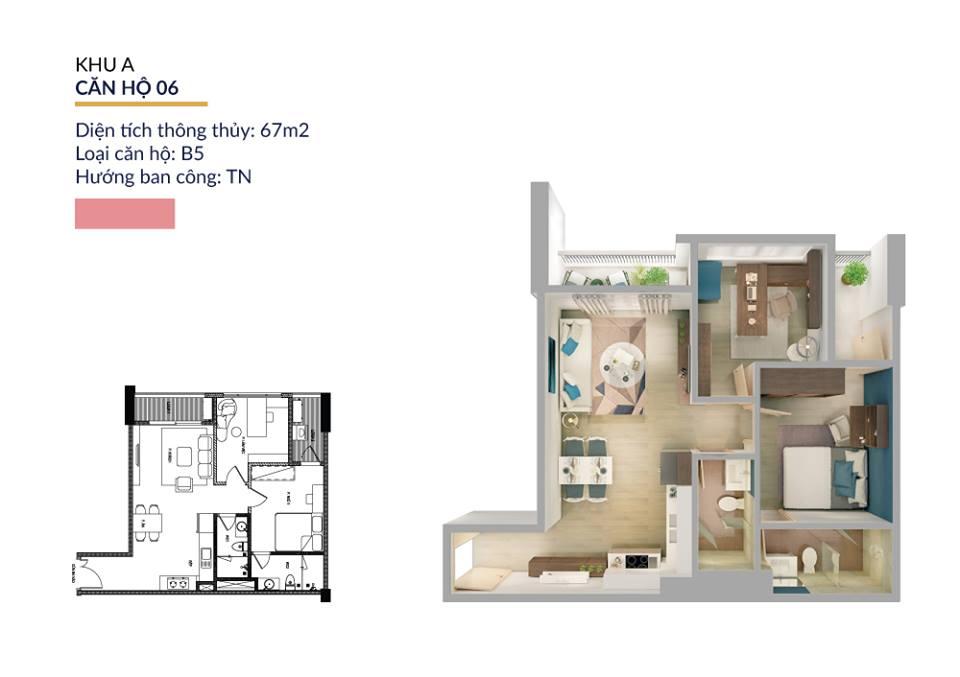 Thiết kế căn hộ 67m2 athena pháp vân