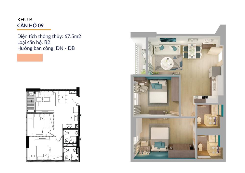 Thiết kế căn hộ 67.5m2 athena pháp vân