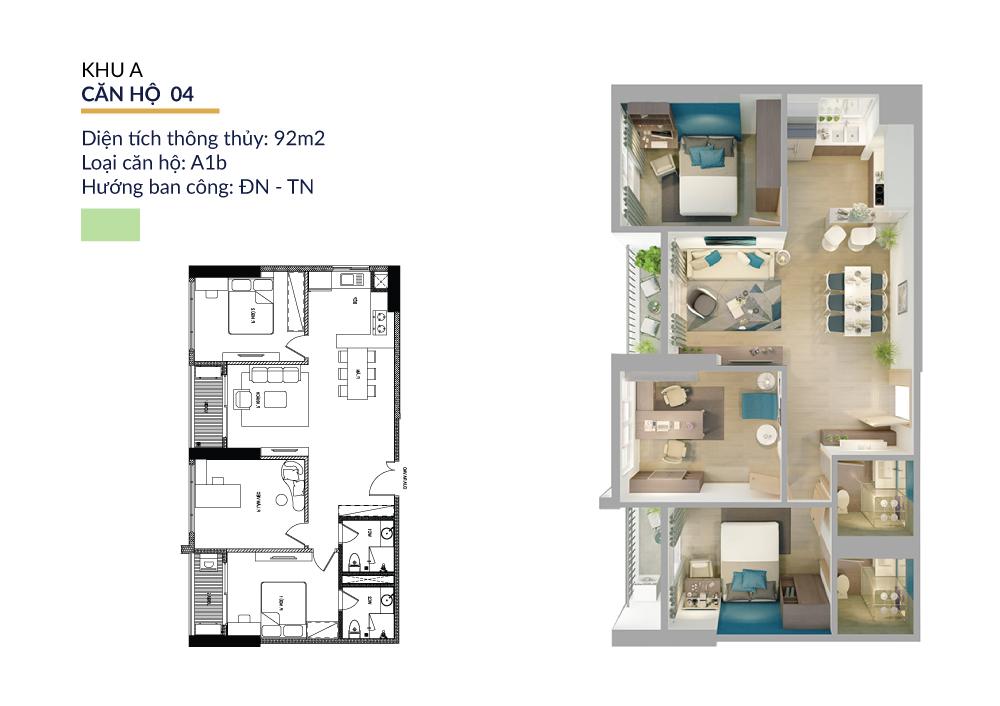 Thiết kế căn hộ 92m2 athena pháp vân