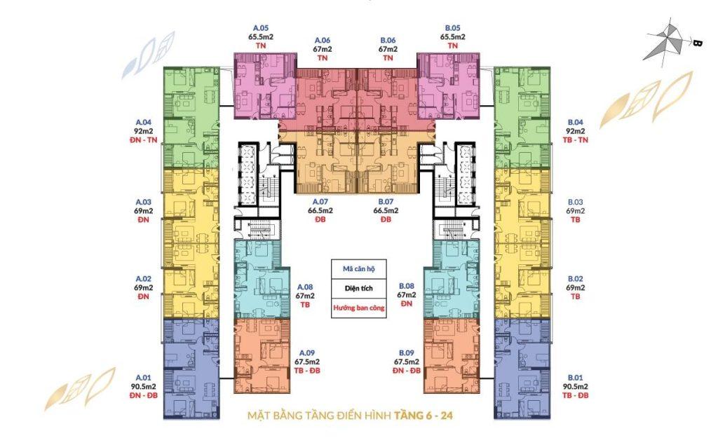 Mặt bằng điển hình tòa chung cư Athena Complex Pháp Vân