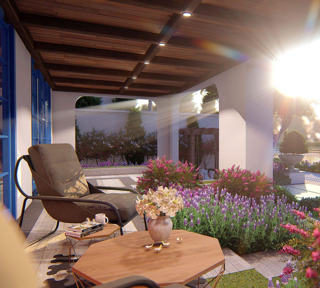 Hiên nhà biệt thự sunshine villa ciputra