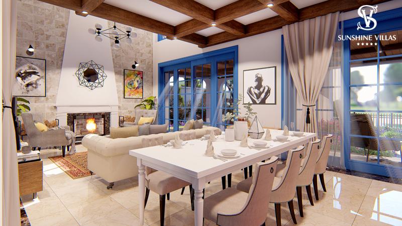 Phòng khách biệt thự sunshine villa ciputra