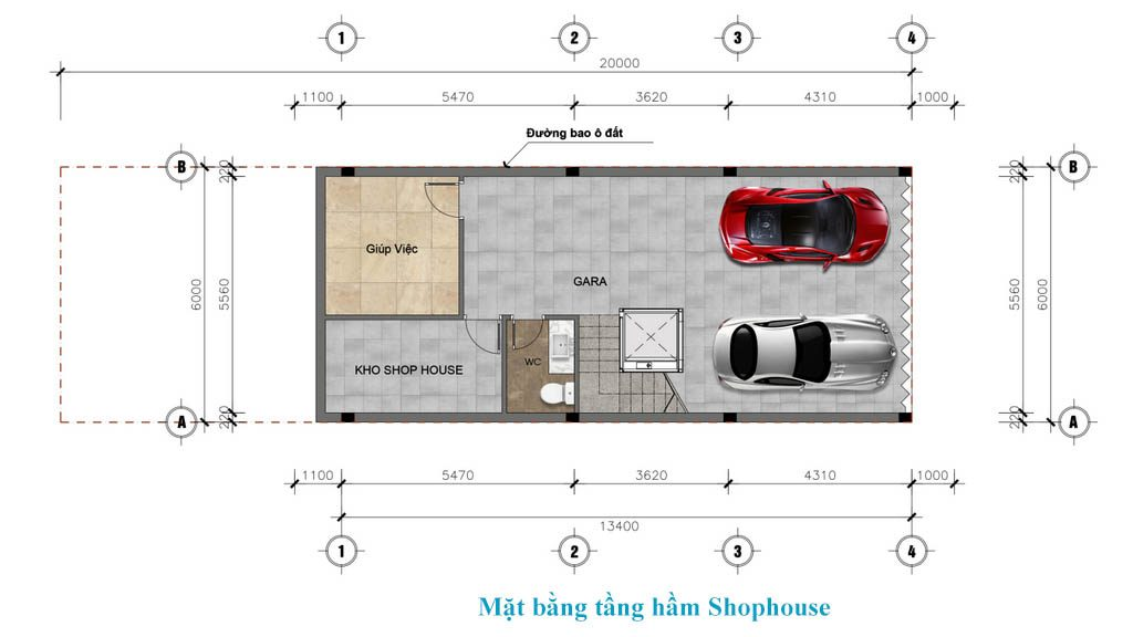 tầng hầm shophouse sunshine wonder villa
