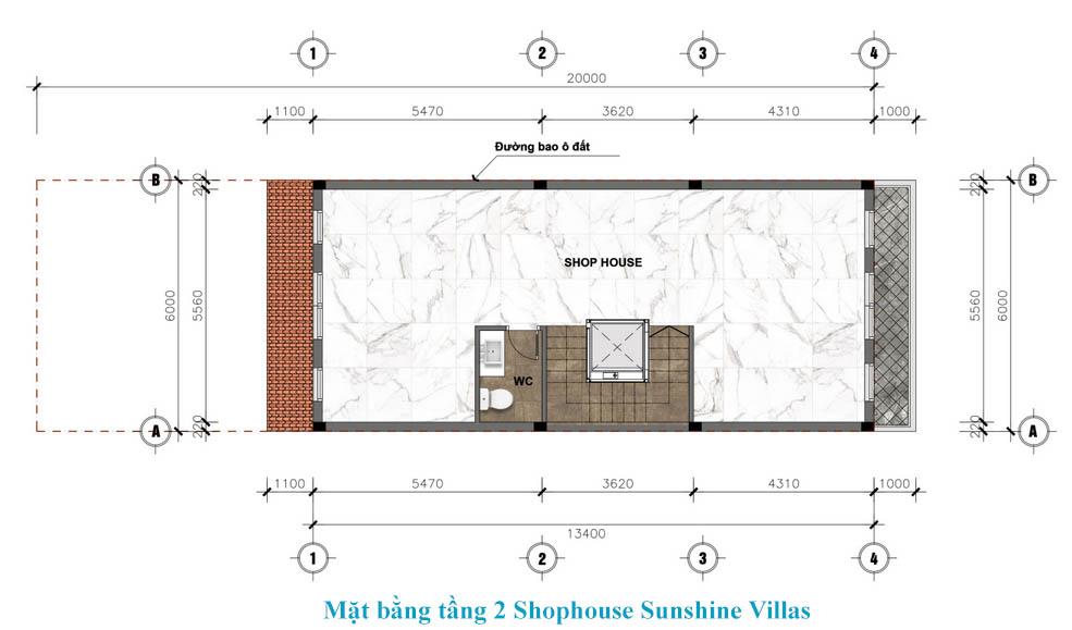 tầng 2 shophouse sunshine wonder villa