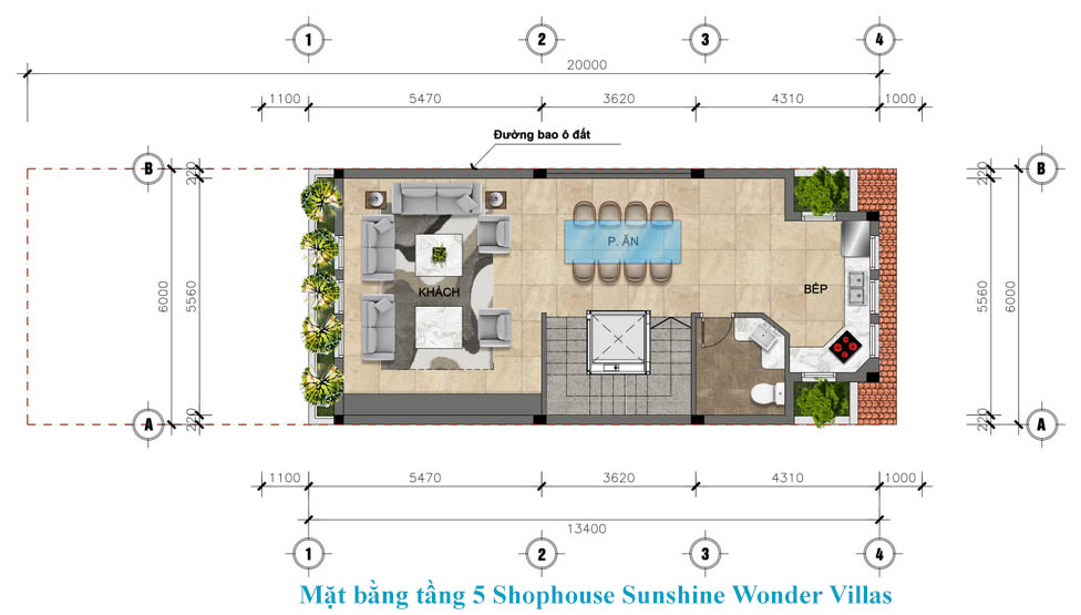 tầng 5 shophouse sunshine wonder villa
