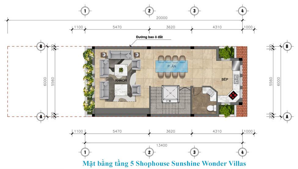 tầng 5 shophouse sunshine wonder villa