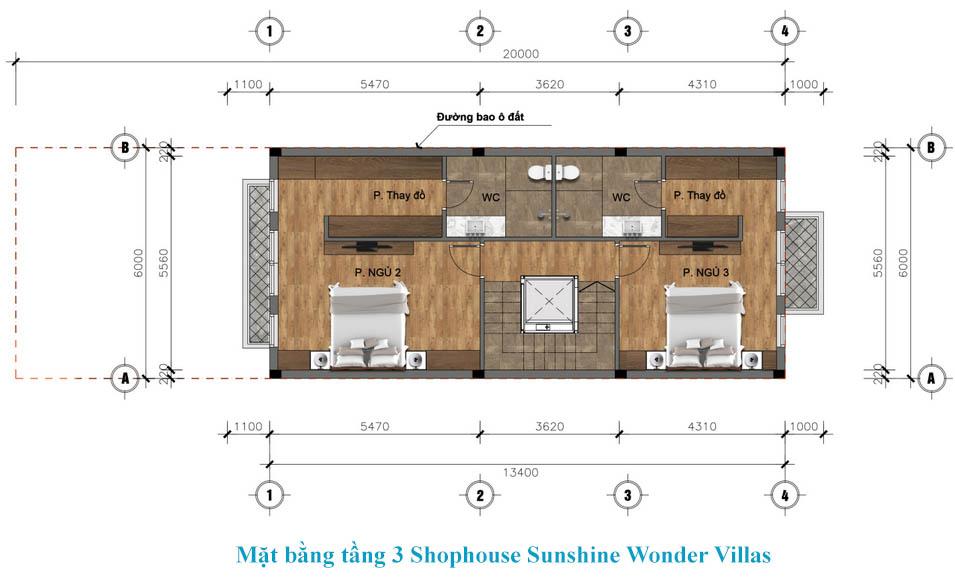 tầng 3 shophouse sunshine wonder villa