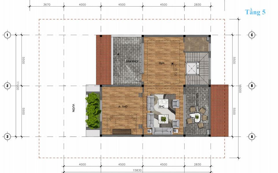 mặt bằng tầng 5 biệt thự đơn lập sunshine wonder villa