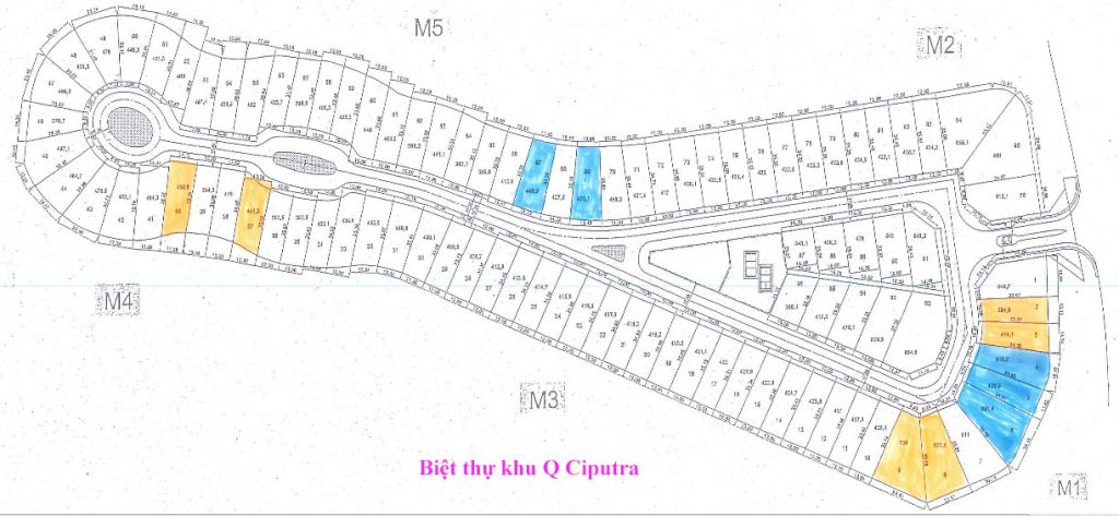 Vị trí phân lô biệt thự khu Q ciputra