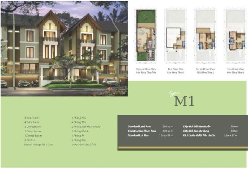 Mẫu thiết kế biệt thự M1 khu Q