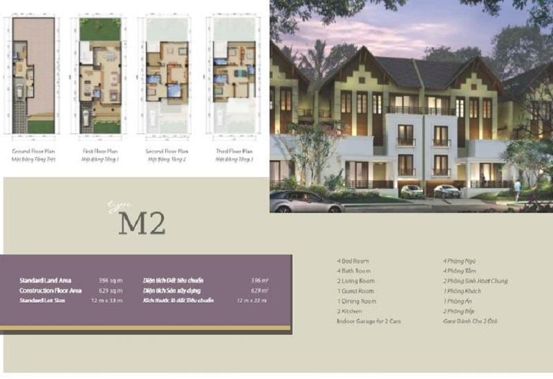 Mẫu thiết kế biệt thự M2 khu Q