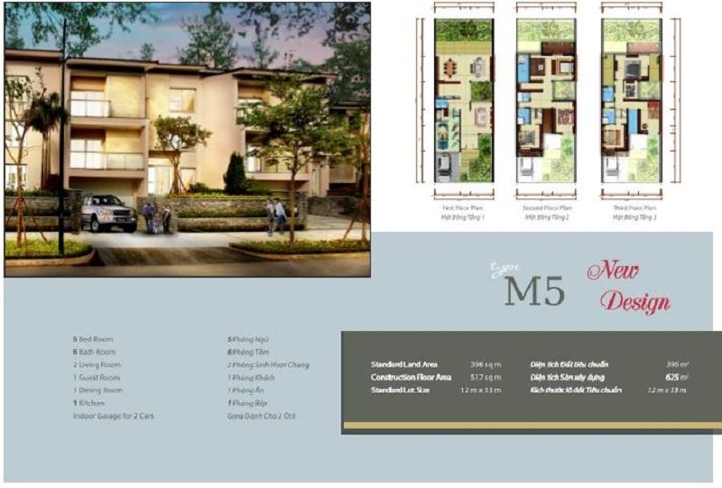 Mẫu thiết kế biệt thự M5 khu Q